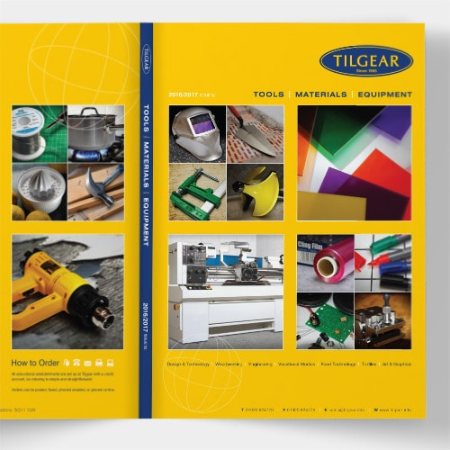 An open spread of Tilgear brochure design showing the front and back cover of the brochure Thumbnail