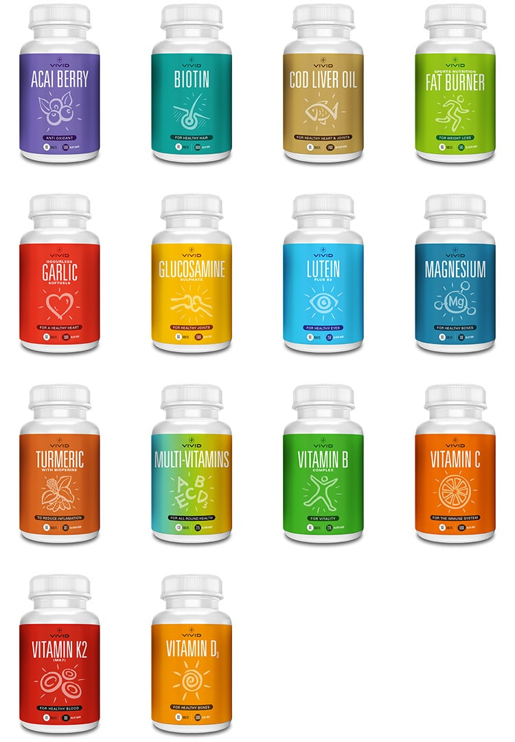 A grid of all Vivid Health vitamins packaging design