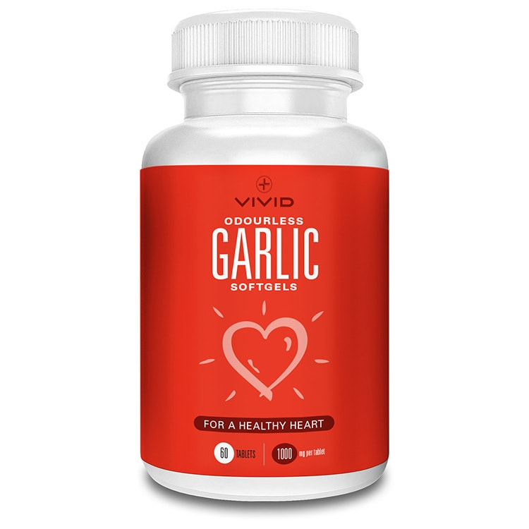 Odourless garlic softgel Vivid Health red label design