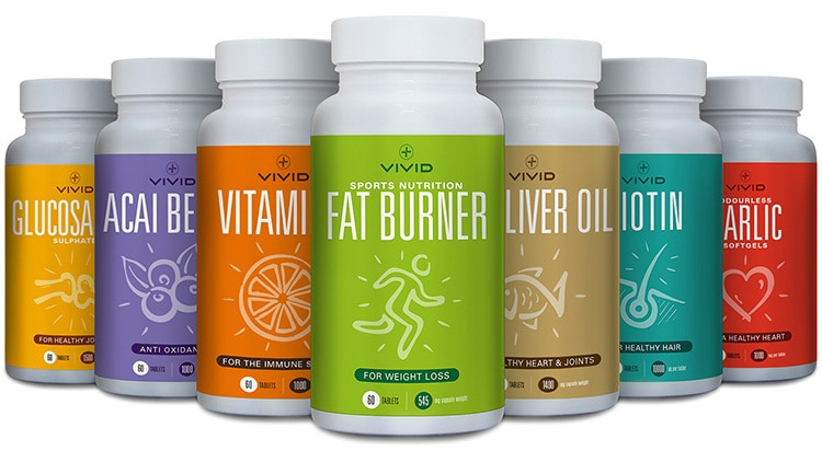 Label design for Vivid Health's range of different vitamins