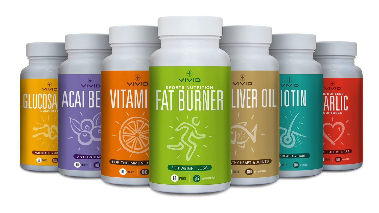 Vivid Health packaging design ranges