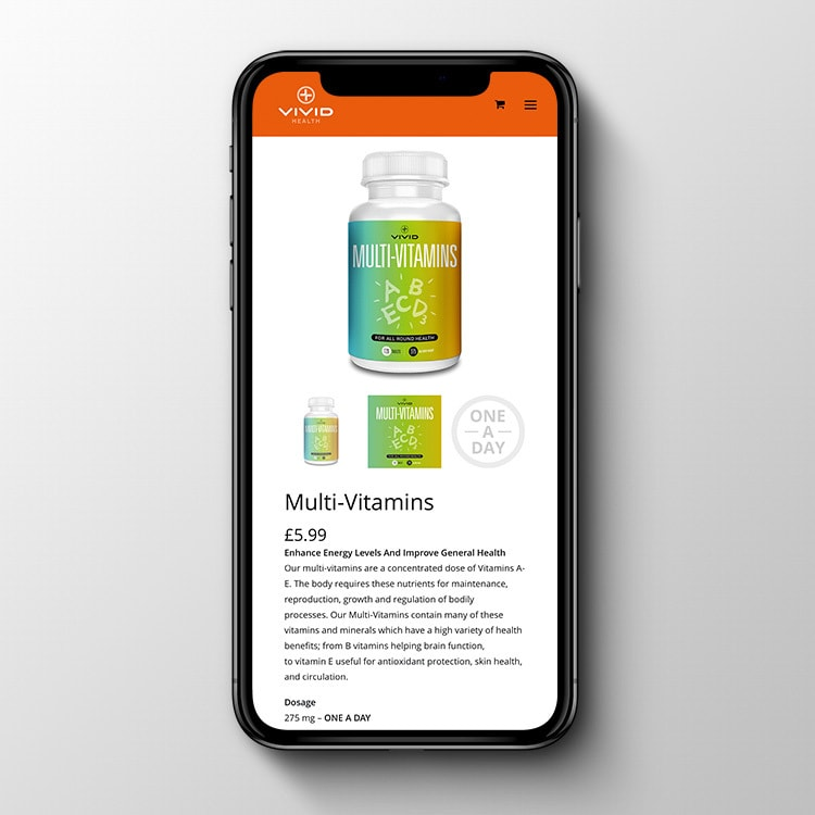 A mobile phone displaying Vivid Health responsive eCommerce shop page website