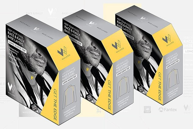 Walero packaging design carton with a full bleed image on front resting with packaging net design background