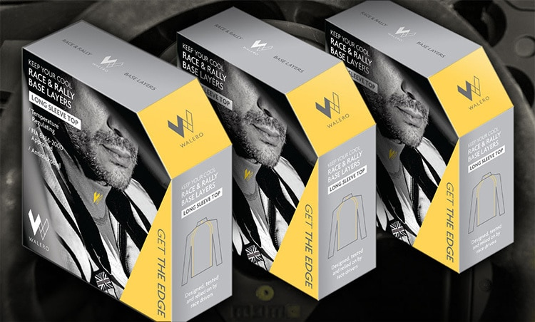 Walero packaging design boxes with a background of sports car steering wheel