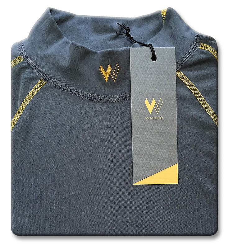 Folded close up of Walero branded garment with tag design
