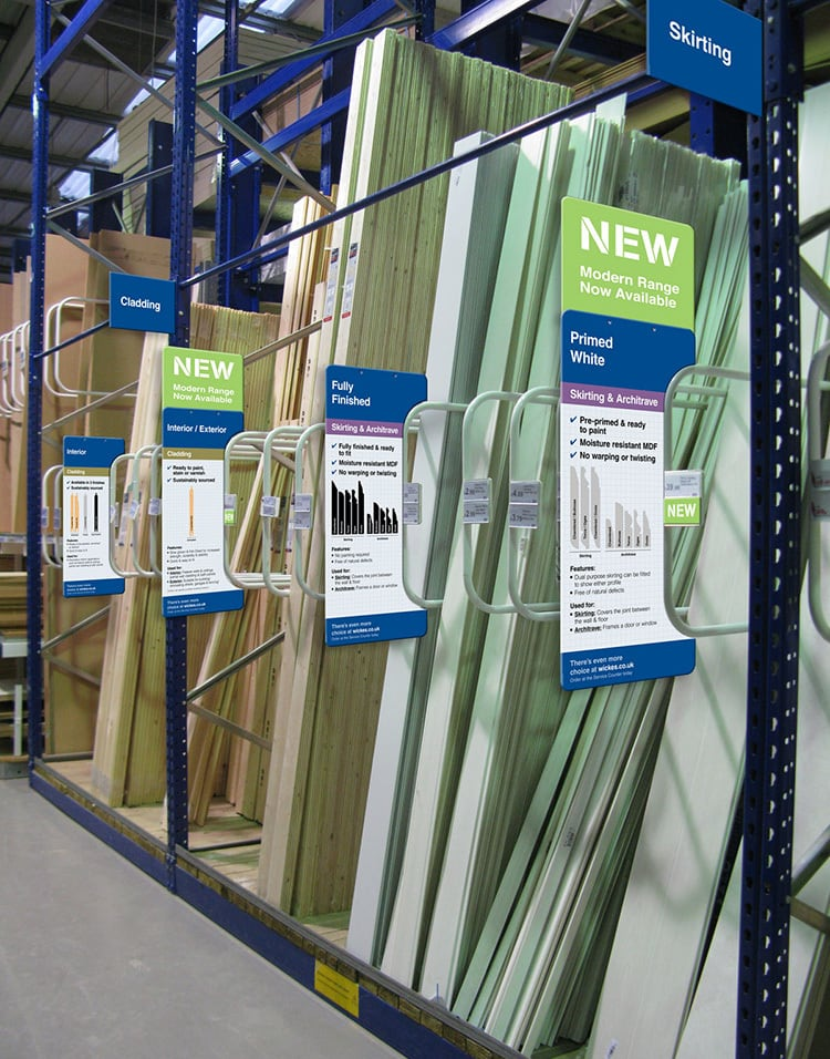 New mould cladding POS design in Wickes retail store