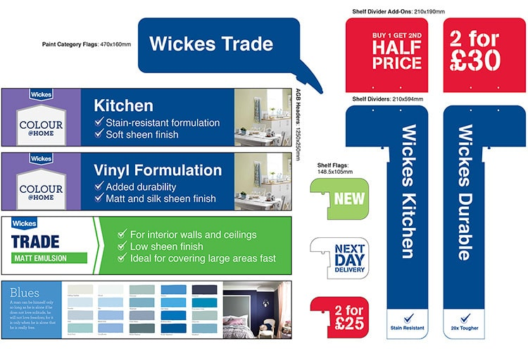 Set of paint trade POS flat artwork for Wickes retail stores