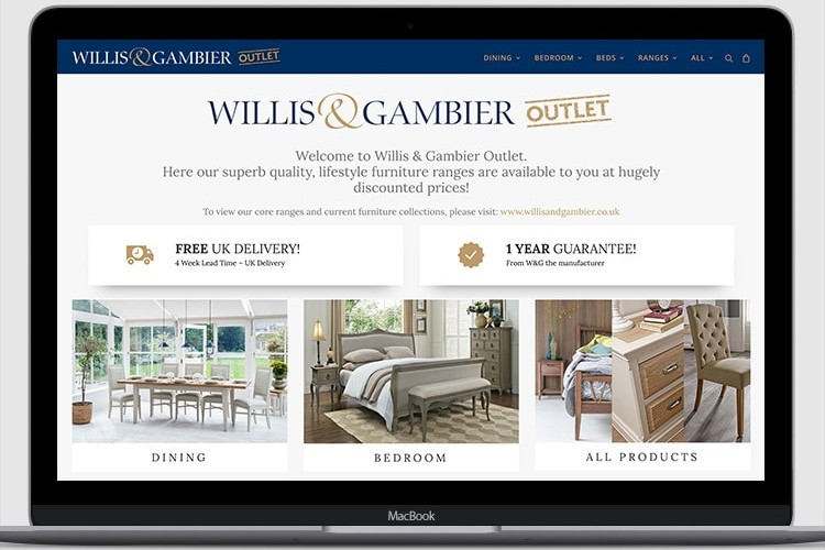 Website eCommerce design for Willis and Gamier outlet displaying on a laptop