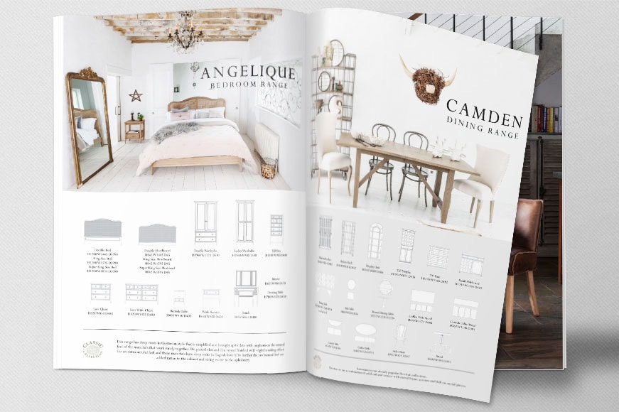 Catalogue Brochure open spread design showing Willis & Gambier bedroom and dining room ranges