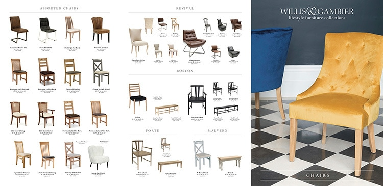 Willis & Gambier 6 page brochure Promotion Design of their chair range