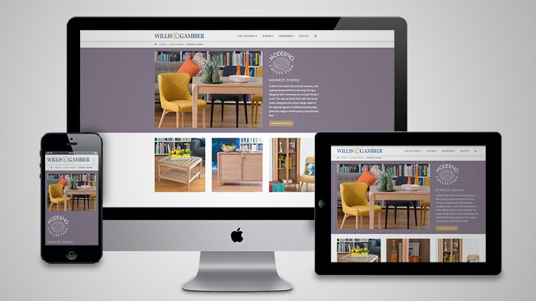 Desktop, Tablet and Mobile phone displaying the Willis & Gambier Moderno page of the responsive website design