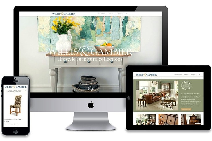 Desktop, Tablet and Mobile phone displaying the Willis & Gambier responsive website design