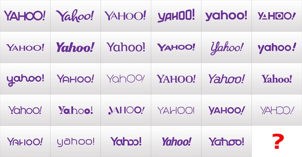 Variety of Yahoo! logo design options through their '30 days of change' teaser campaign