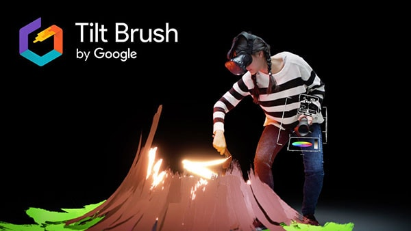 Person creating a volcano using Tilt brush tool by Google