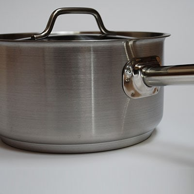 Close up shot of a sauce pan for Tilgear