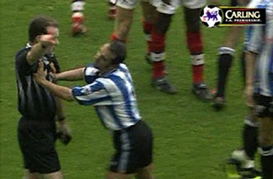 Paolo di Canio pushing the football referee