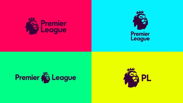 Advertisings boards and promotions artwork showing the New redesigned logo for Premier League