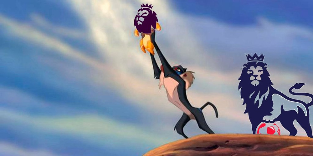 Lion king character holding the new Premier League logo while the old Logo is standing behind