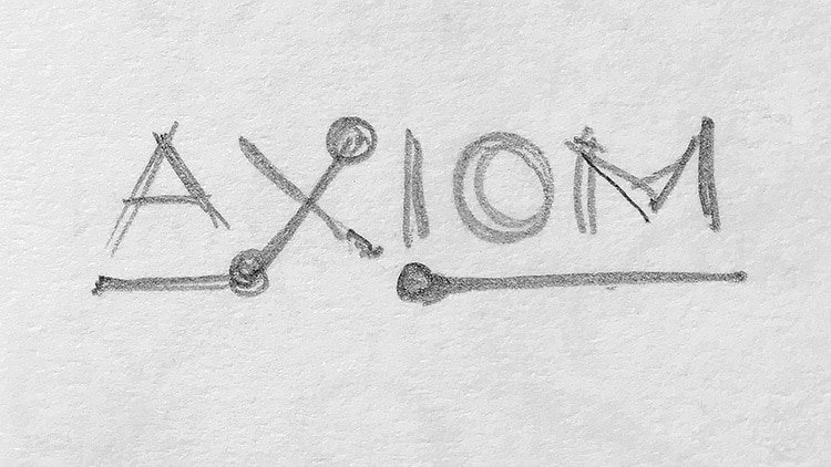 Sketches of CED sub-brand 'Axiom' logo design
