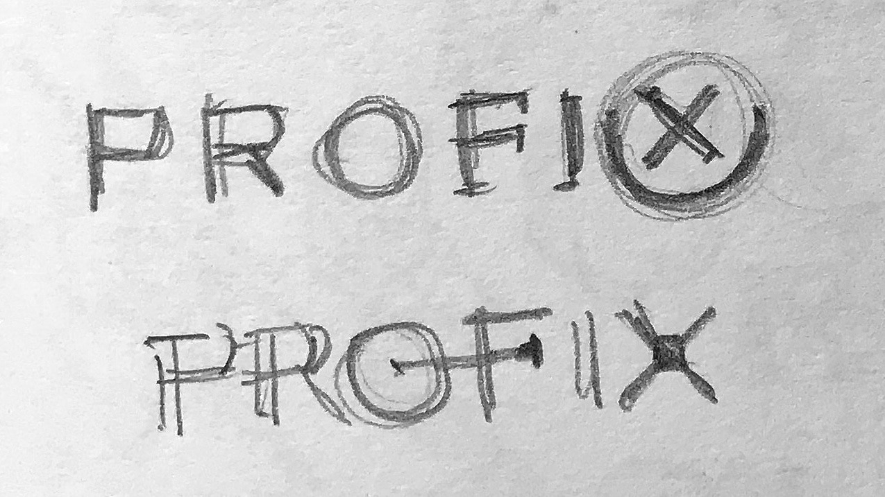 Sketches of CED sub-brand 'Profix' logo design
