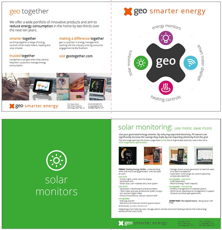 Flat artwork of GEO cosy brochure design front and back