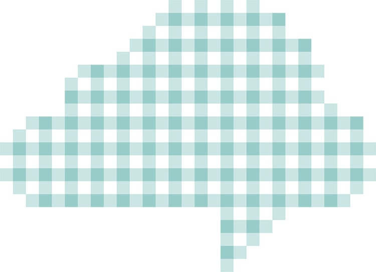 Repeat pattern with cloud cut-out for Gingham cloud white background