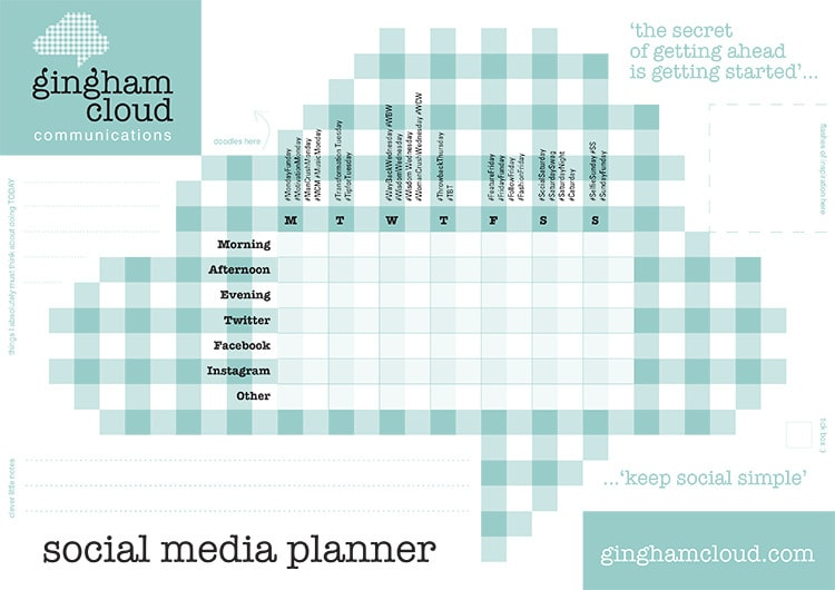 A4 social media planner print design for Gingham Cloud