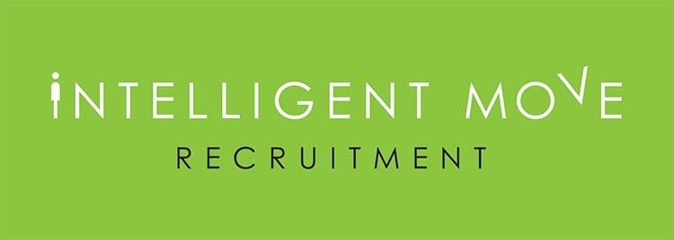 New landscape Intelligent Move Recruitment logo design with green background