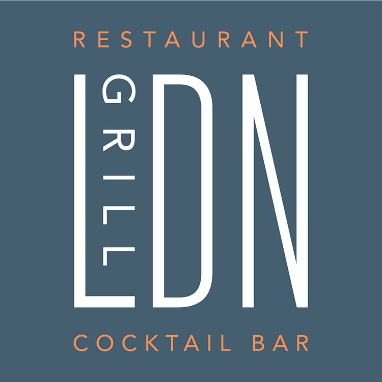 LDN Grill logo design reversed coloured
