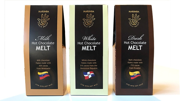 Marimba hot chocolate melt retail packaging design for different chocolates with a gold foil finish front view