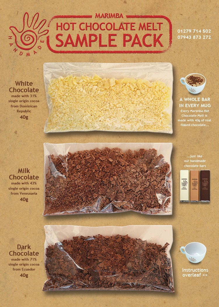 Hot chocolate sample pack packaging design with graphics and information for Marimba