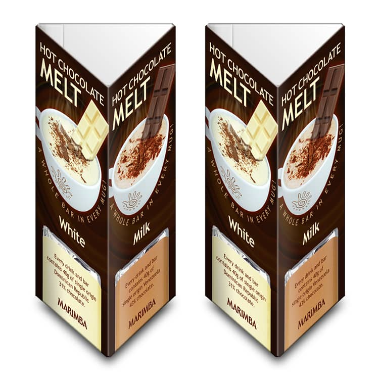 Promotion Design table talkers for Marimba's milk Chocolate Melt