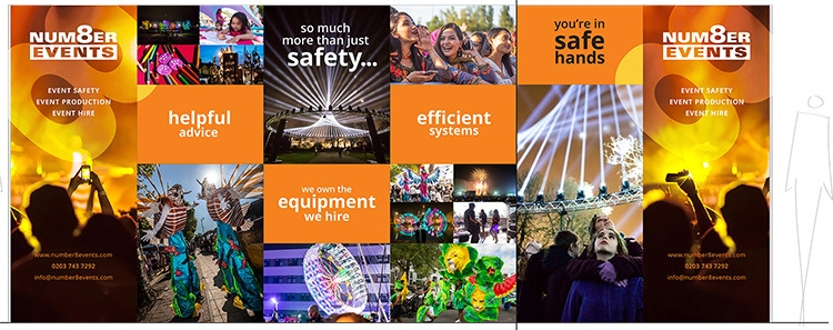 Exhibition design for Number 8 Events exhibition stand to promote health and safety