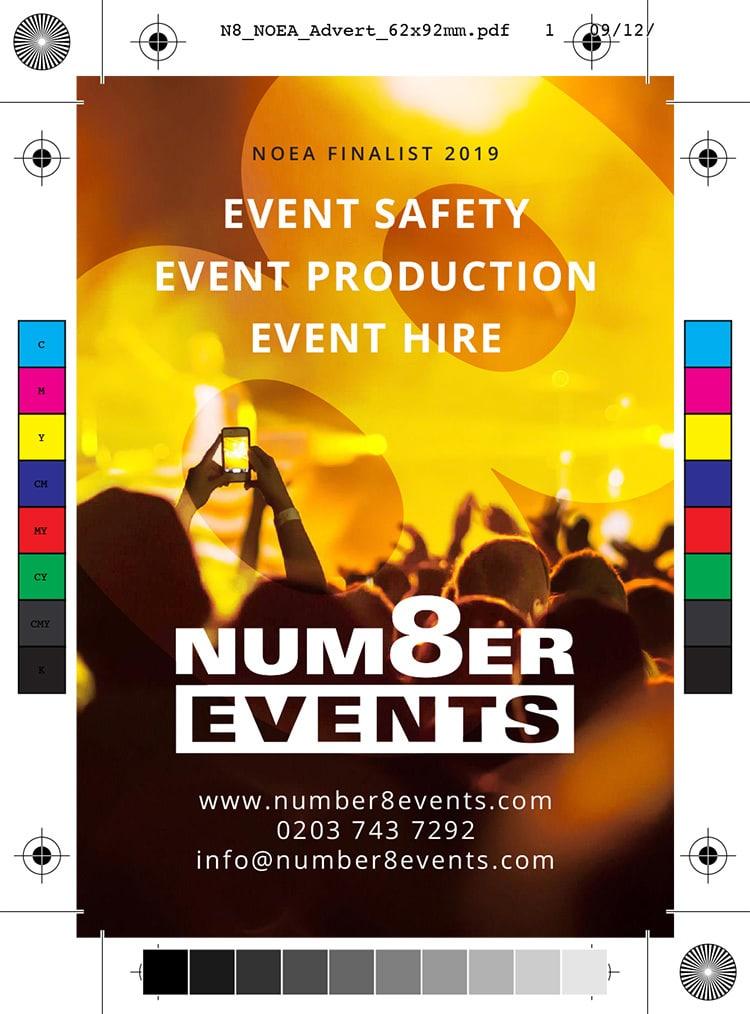 NOEA Finalist 2019 promotion advert design for Number 8 Events