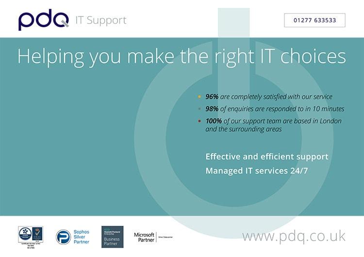 Front of Postcard option 1 promotional design for PDQ