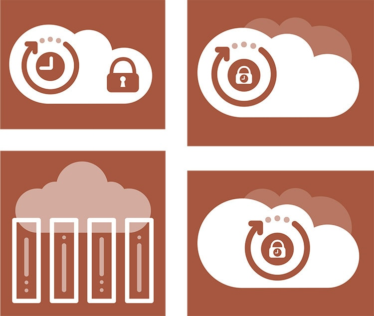 Set of cloud icons designed for PDQ website