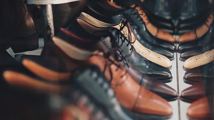 Close up of leather shoes photography for Retail Reimagined