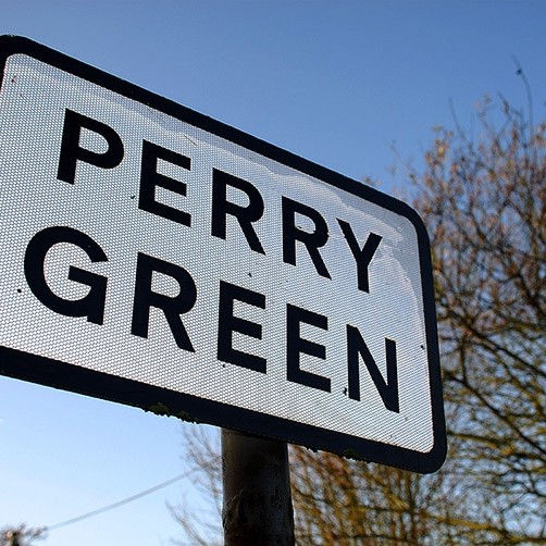 Perspective shot of the Perry Green sign