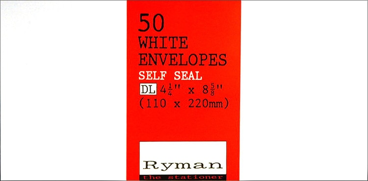 Front of Ryman white envelopes label design