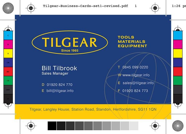 Front reversed version of Tilgear business card branding design set