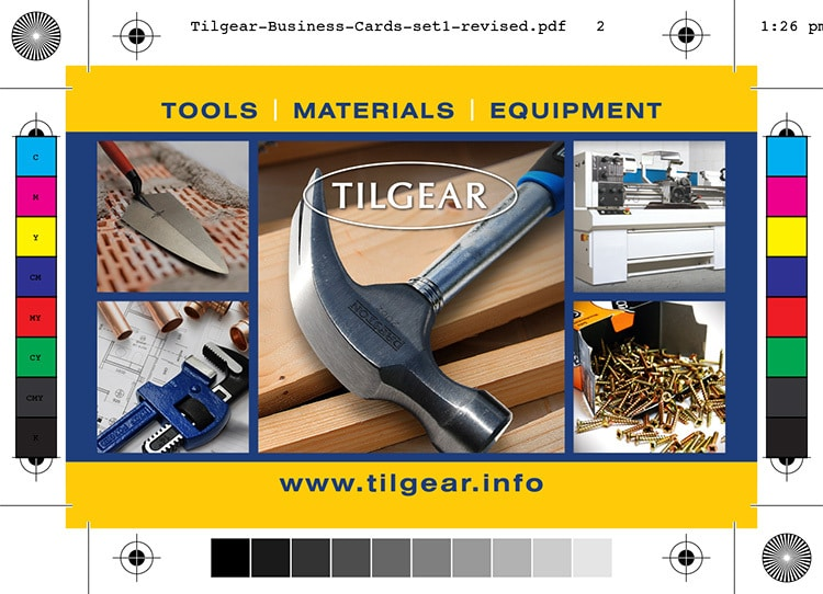 Back of Tilgear business card branding design showing different hand tools