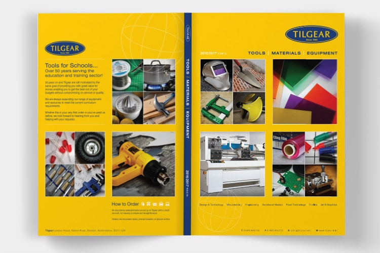 An open spread of Tilgear brochure design showing the front and back cover of the brochure