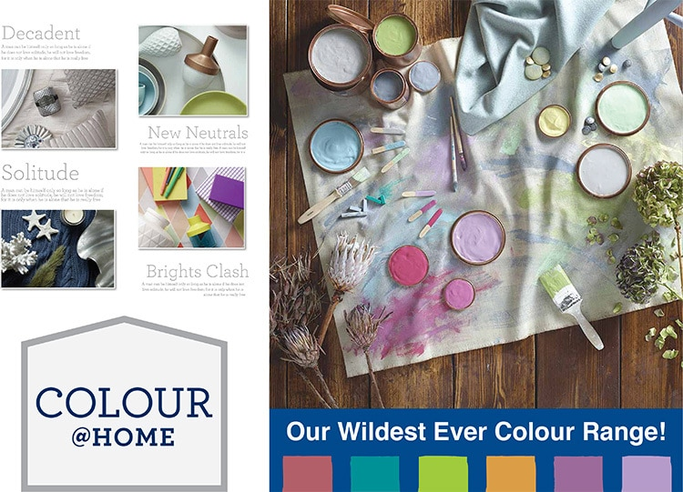 Paint Trade colour at home POS graphics designed for Wickes retail stores