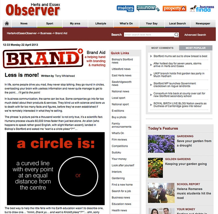 Homepage of the Herts and Essex Observer website showing 'Brand Aid' piece