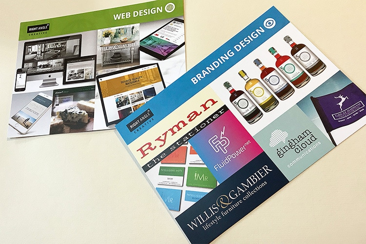 A5 postcards print design showing Branding and Website design services for Right Angle Creative