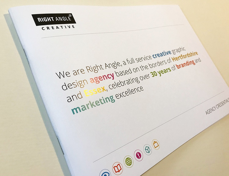 Front cover of the Right Angle Creative agency credentials brochure