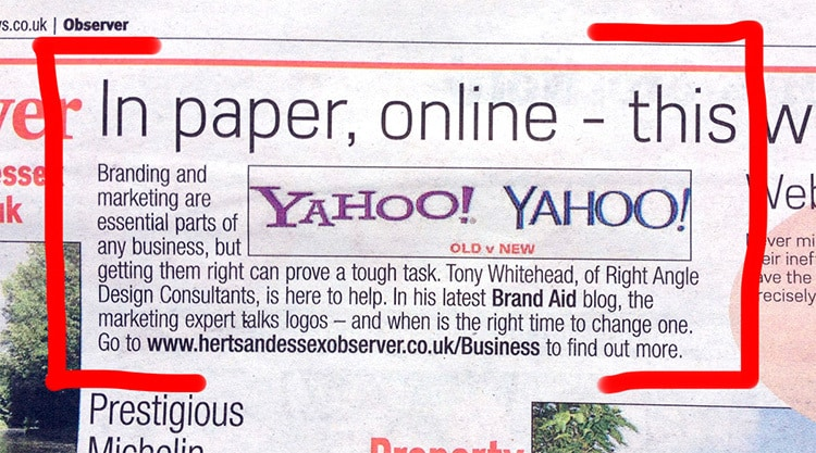 Right Angle Creative Brand Aid on press newspaper advertising