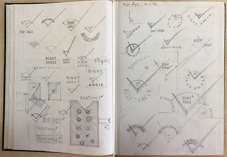 Design and development sketches of Right Angle Creative branding design