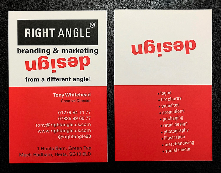 Front and back of Right Angle Creative portrait business cards with angled word 'design' in red