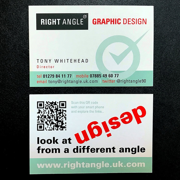 Front and back of Right Angle Creative landscape business cards green and red with tick symbol